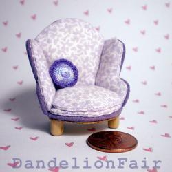 Dollhouse Chair Half Scale 1/24 - Lavender Floral Print